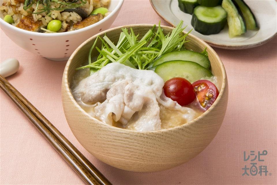 冷しゃぶとろろの絶品汁(豚しゃぶしゃぶ用肉+きゅうりを使ったレシピ)