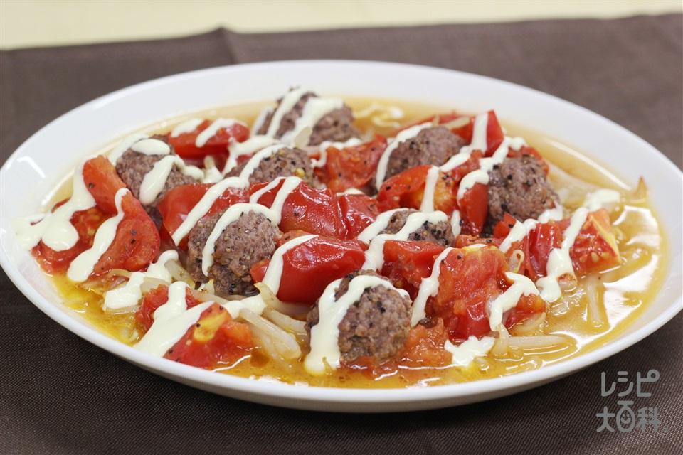 ひき肉とトマトのスパイシー蒸し(トマト+もやしを使ったレシピ)