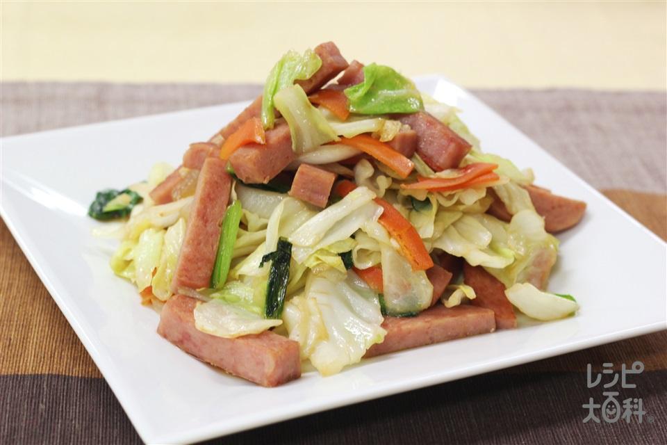 たっぷり野菜とポークランチョンミート炒め