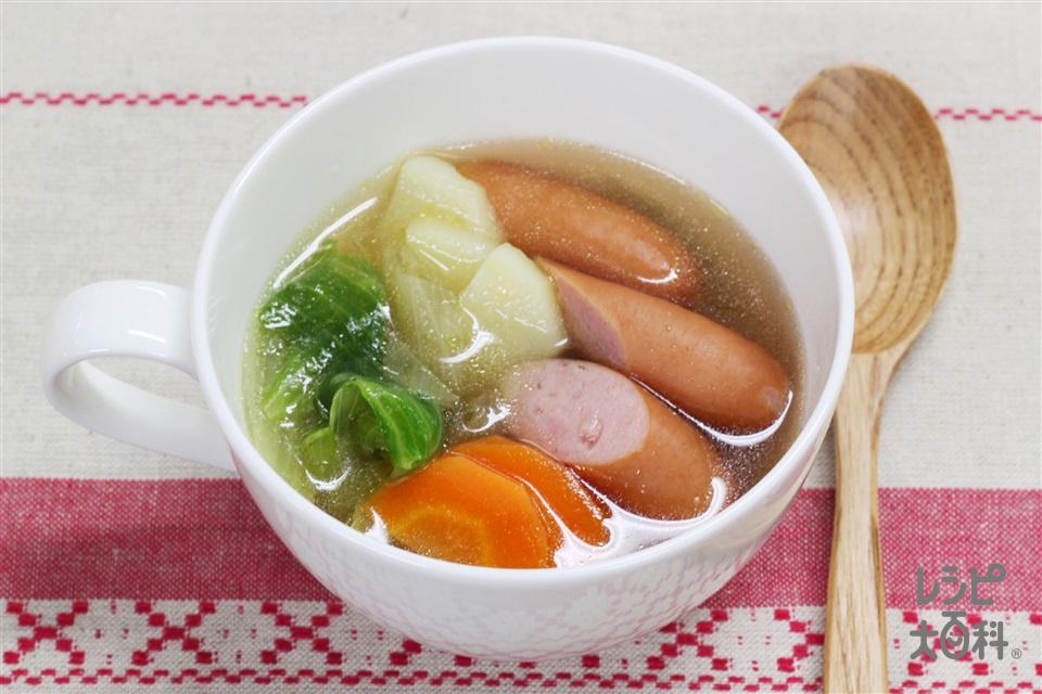 簡単野菜スープ(粗びきウインナーソーセージ+レタスを使ったレシピ)