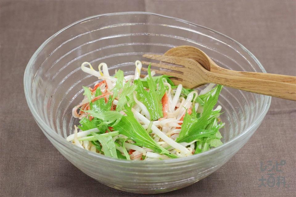 もやしとかにかまの中華風サラダ(もやし+かに風味かまぼこを使ったレシピ)