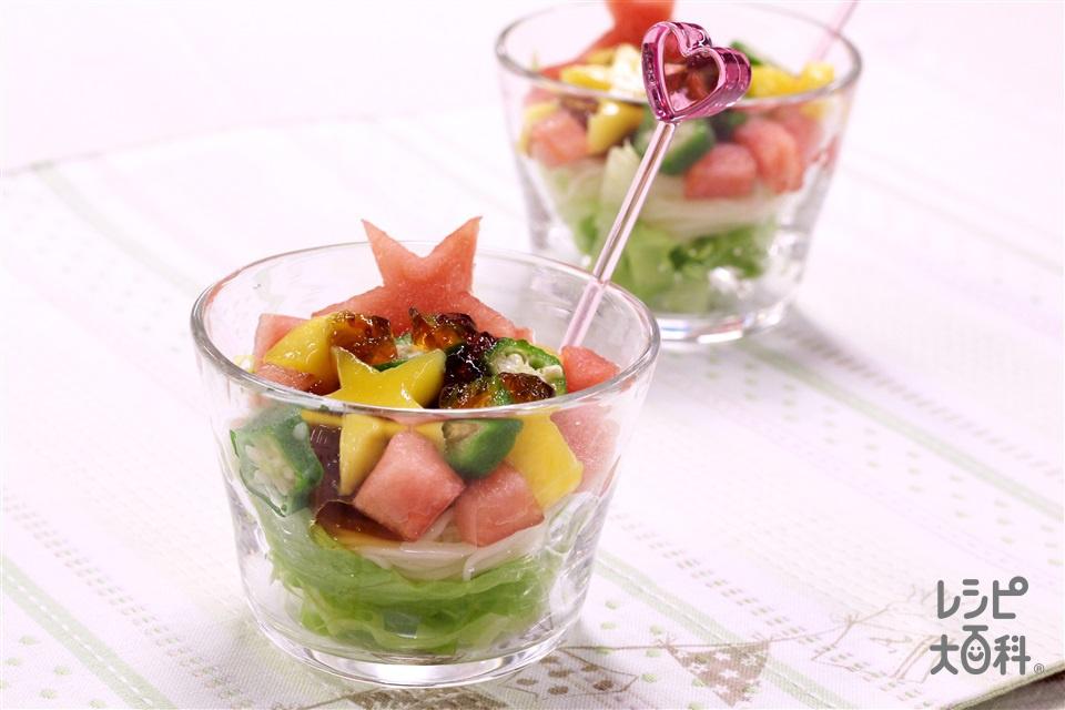 フルーツサラダそうめん~ 手作りジュレde七夕☆ ~(そうめん+すいかを使ったレシピ)