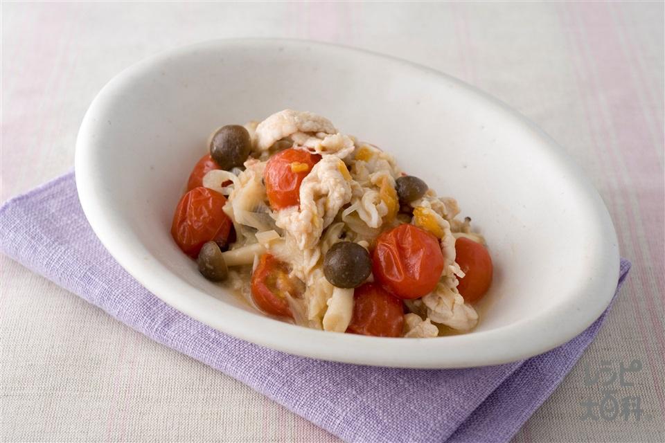 豚肉ときのこの梅味噌煮(豚もも薄切り肉+ミニトマトを使ったレシピ)