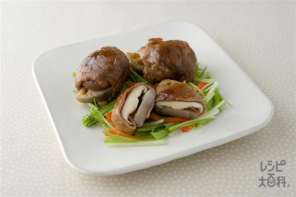 牛肉のれんこんしいたけ巻き(牛もも薄切り肉+片栗粉を使ったレシピ)