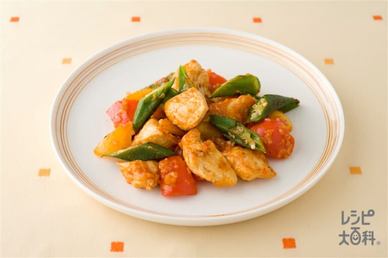 鶏肉とパプリカのチリソース炒め