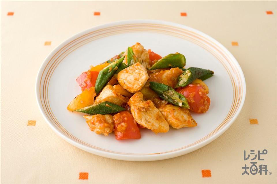 鶏肉とパプリカのチリソース炒め(鶏むね肉(皮なし)+パプリカ(赤)を使ったレシピ)