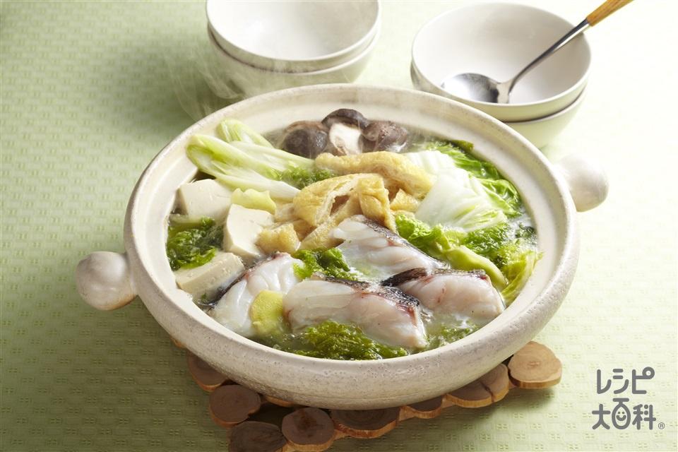 鶏だしあおさ鍋(たら+白菜を使ったレシピ)
