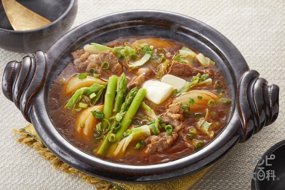 豚じゃがキムチ鍋(豚バラかたまり肉+じゃがいもを使ったレシピ)