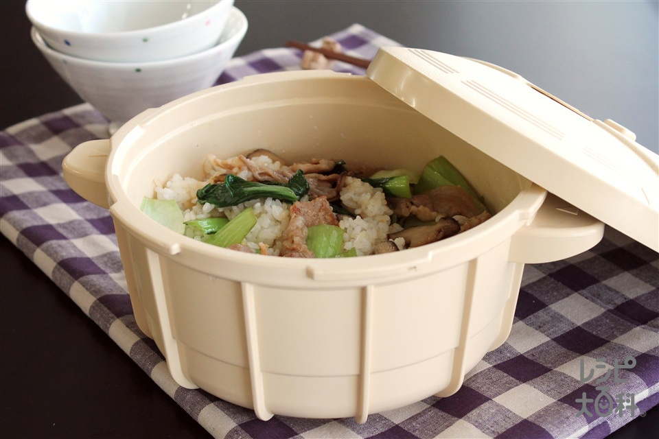 ~電子レンジ専用圧力鍋で~チンゲン菜の混ぜご飯(米+チンゲン菜を使ったレシピ)
