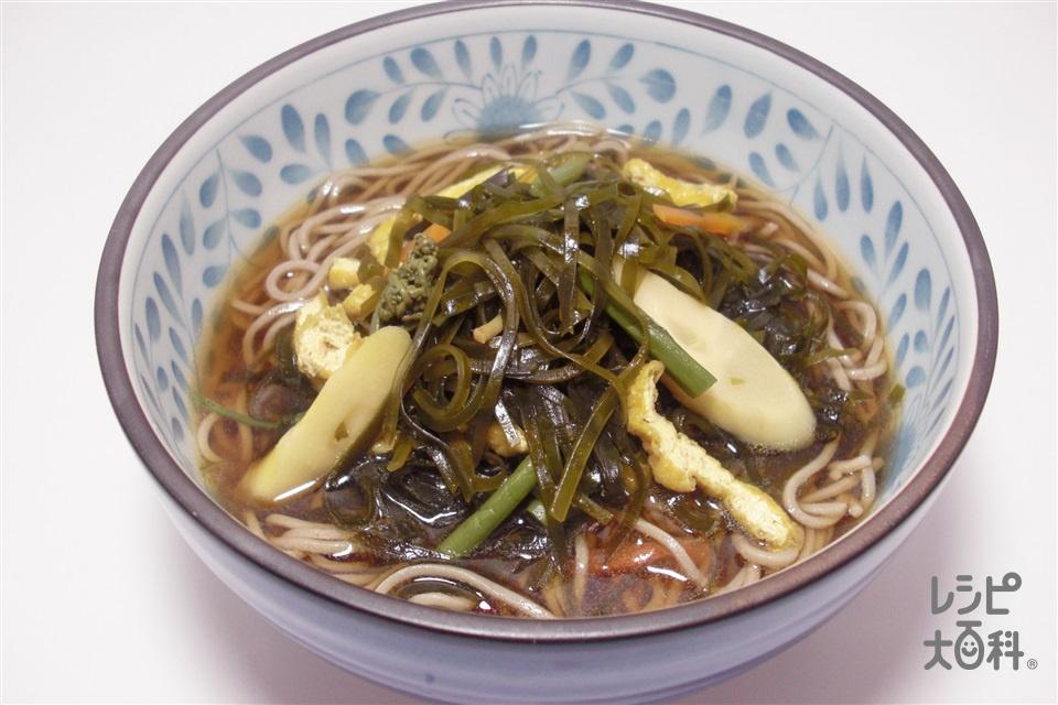さんさそば(ひき昆布の煮物入りそば)~岩手~(そば+山菜ミックスを使ったレシピ)