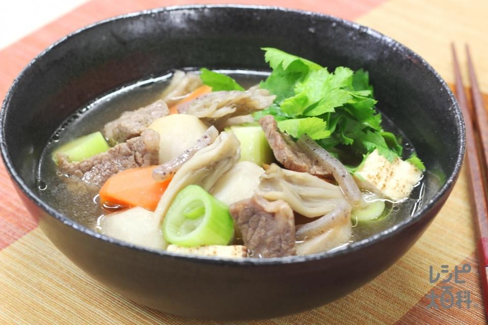 和でほっこり 里いもと牛肉のごちそうスープ(牛カルビ肉+里いもを使ったレシピ)