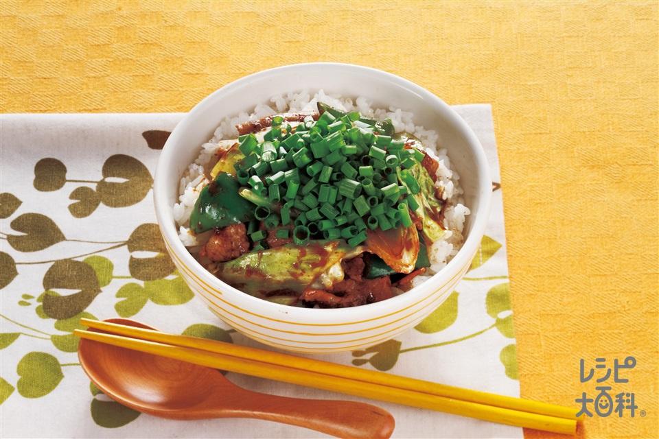 山盛りねぎの回鍋肉丼(豚バラ薄切り肉+キャベツを使ったレシピ)
