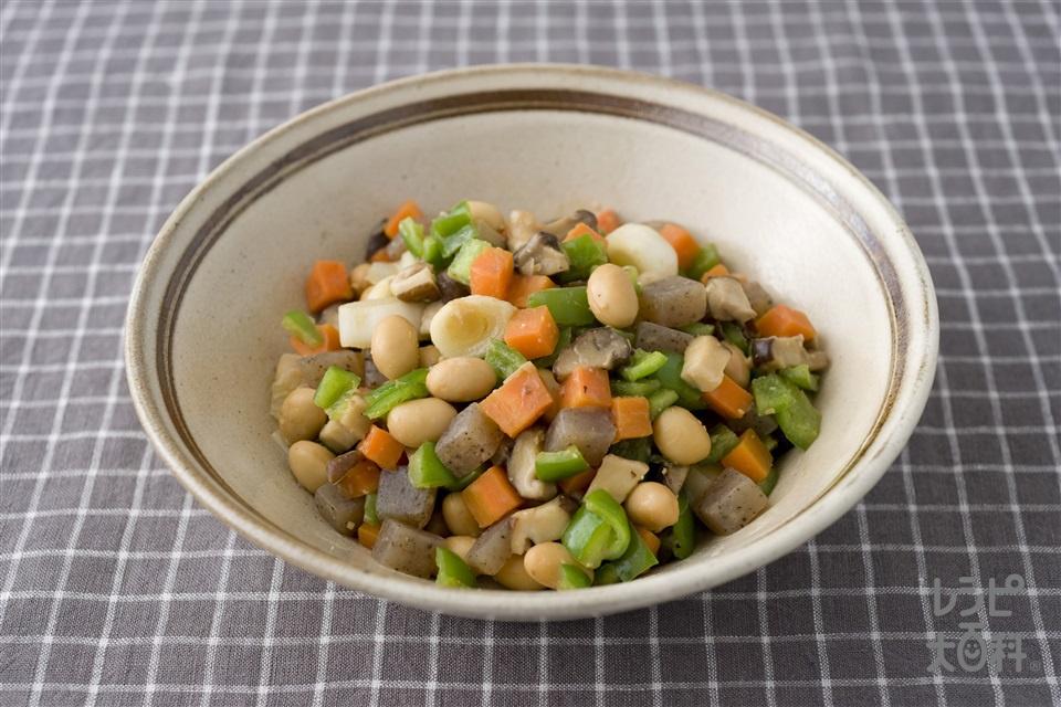 大豆と五目野菜のゴマみそ炒め(大豆(ゆで)+にんじんを使ったレシピ)