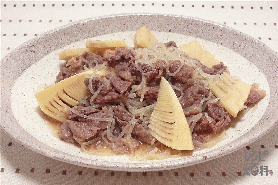 たけのこと牛肉の煮物(牛バラ薄切り肉+ゆでたけのこを使ったレシピ)