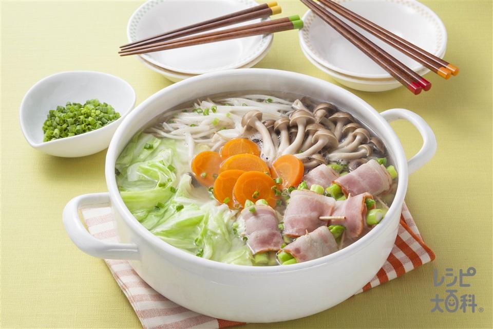 洋風アスパラベーコン鍋(キャベツ+もやしを使ったレシピ)