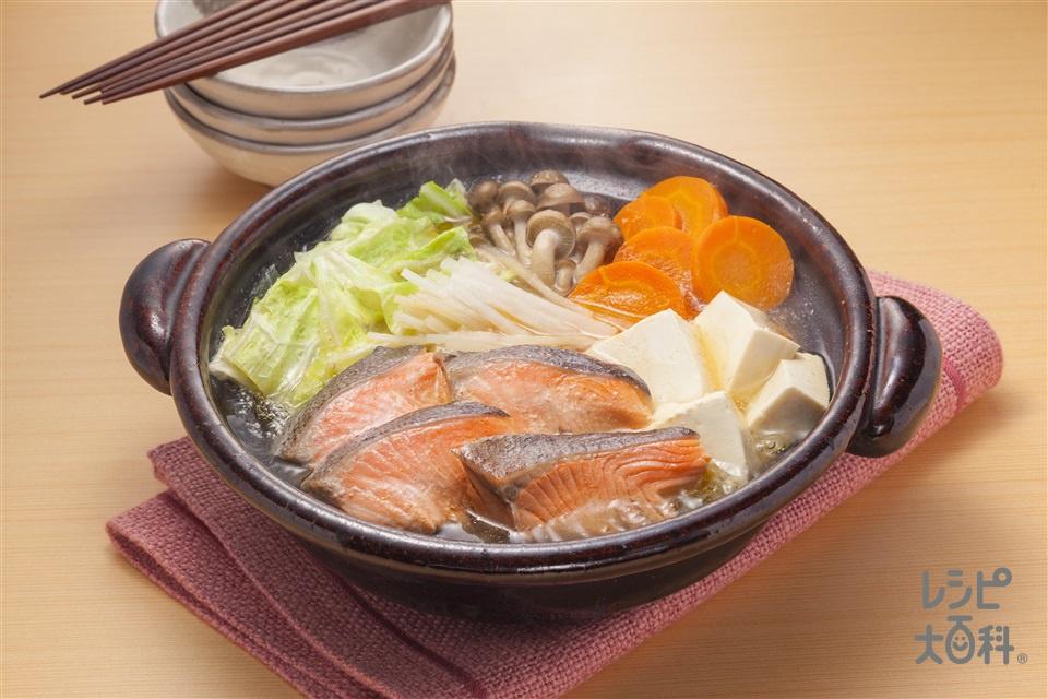 鮭とたっぷりキャベツの寄せ鍋(さけ+キャベツを使ったレシピ)