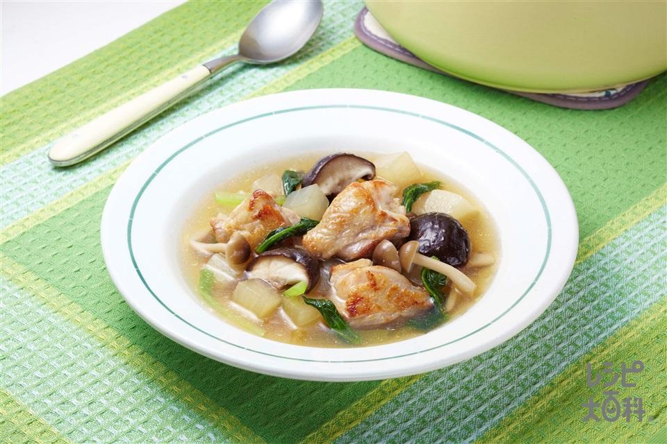 チキンときのこのおかずスープ(鶏もも肉+大根を使ったレシピ)