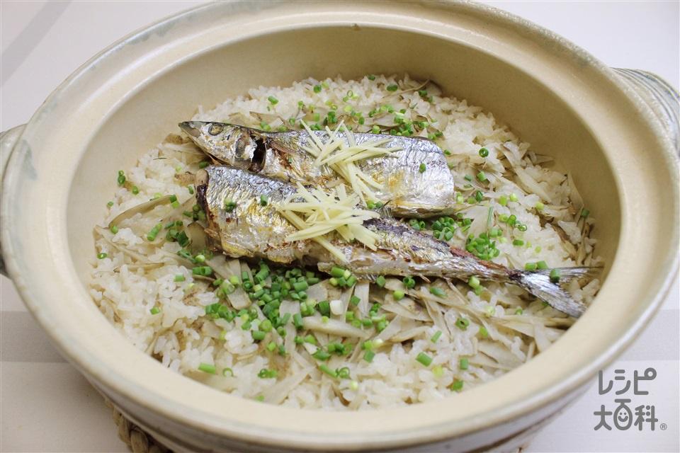 焼きさんまの混ぜご飯(米+ごぼうを使ったレシピ)