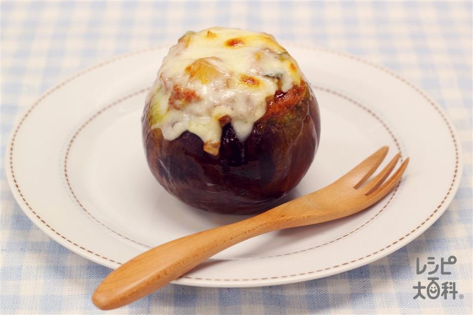 丸なすのまるごとチーズ焼き(丸なす+かぼちゃを使ったレシピ)