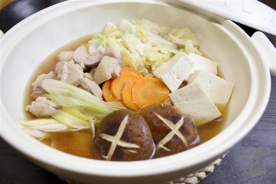 2人で!かんたん寄せ鍋(鶏もも肉+白菜を使ったレシピ)