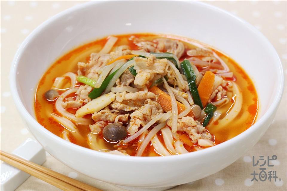 豚キムチうどん(冷凍うどん+袋入りカット野菜(にらもやしミックス)を使ったレシピ)