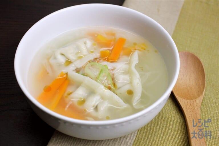 香味ペーストでスープ餃子
