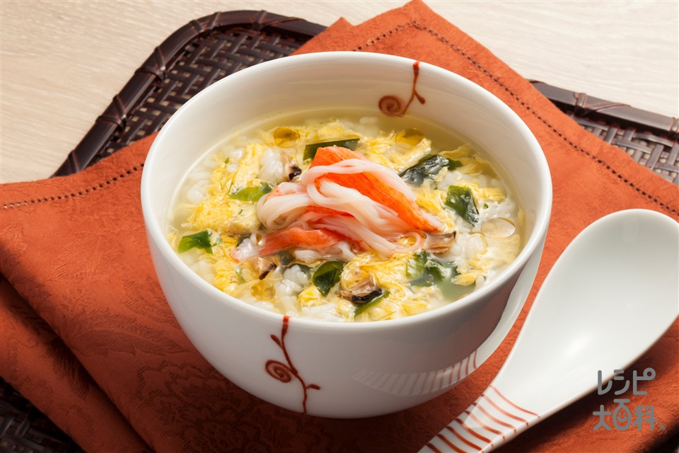 天津飯風中華スープ飯(ご飯+かに風味かまぼこを使ったレシピ)