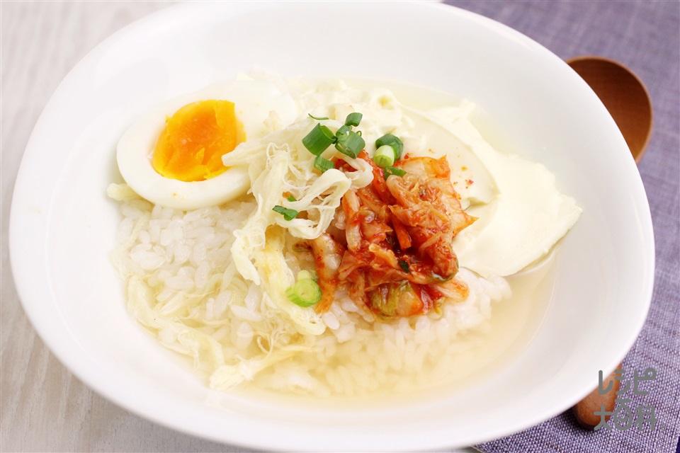 スンドゥブ風スープかけごはん(ご飯+絹ごし豆腐を使ったレシピ)