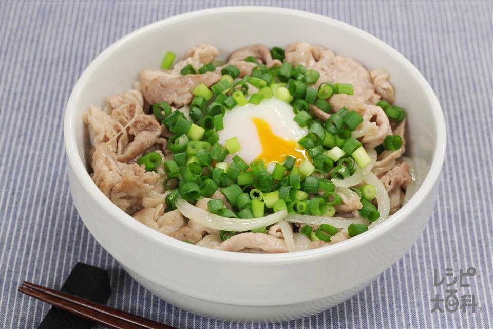 スタミナ豚丼(豚バラ薄切り肉+ご飯を使ったレシピ)