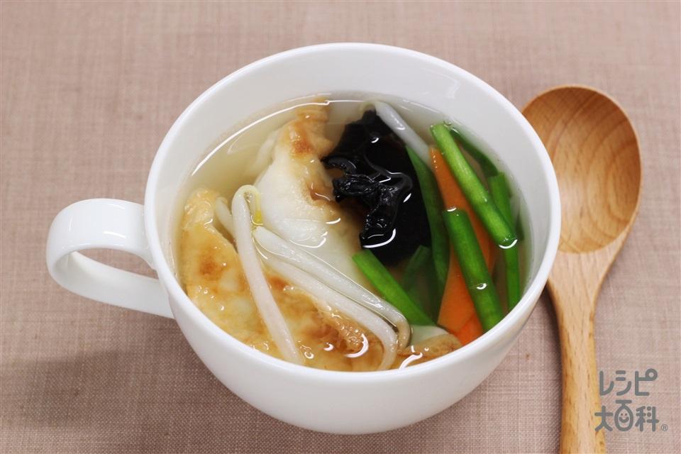 丸鶏がらスープ餃子(冷凍餃子+袋入りカット野菜(にらもやしミックス)を使ったレシピ)