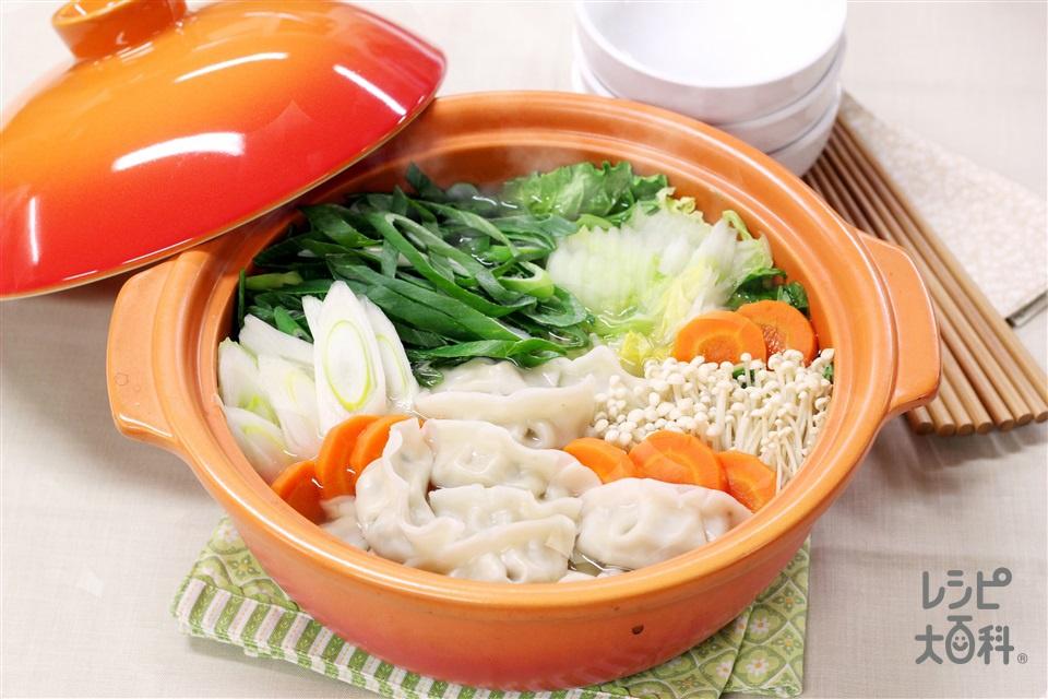 ねぎたっぷり餃子鍋(白菜+ねぎを使ったレシピ)