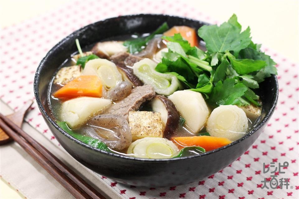 やまといもと牛肉のごちそうスープ(牛カルビ肉+焼き豆腐を使ったレシピ)