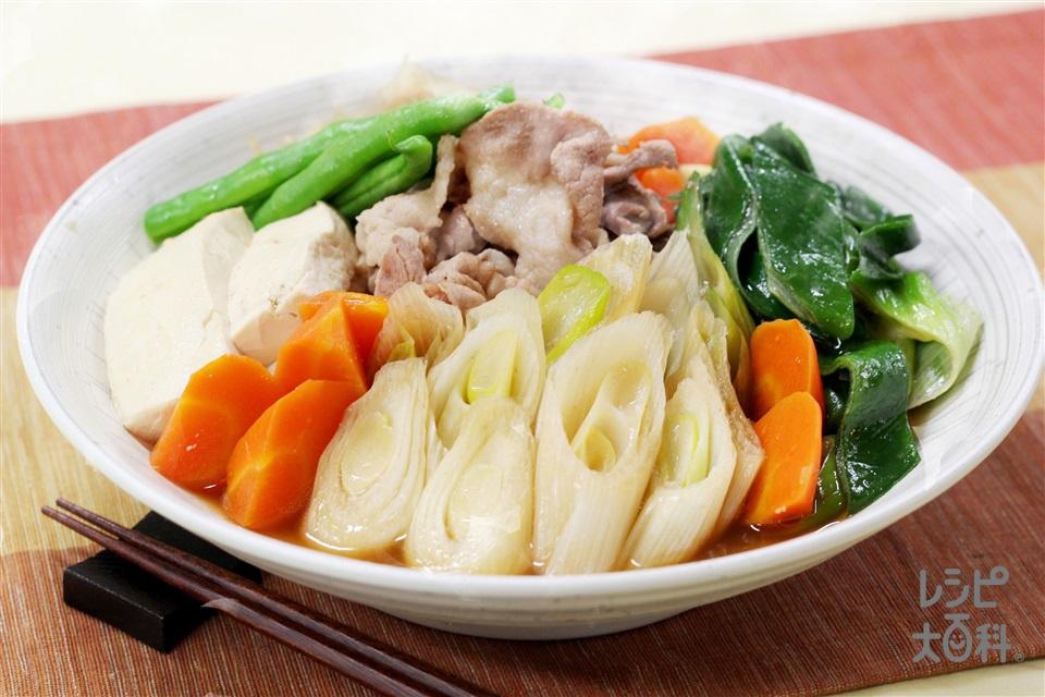 ねぎたっぷり肉豆腐(豚こま切れ肉+木綿豆腐を使ったレシピ)