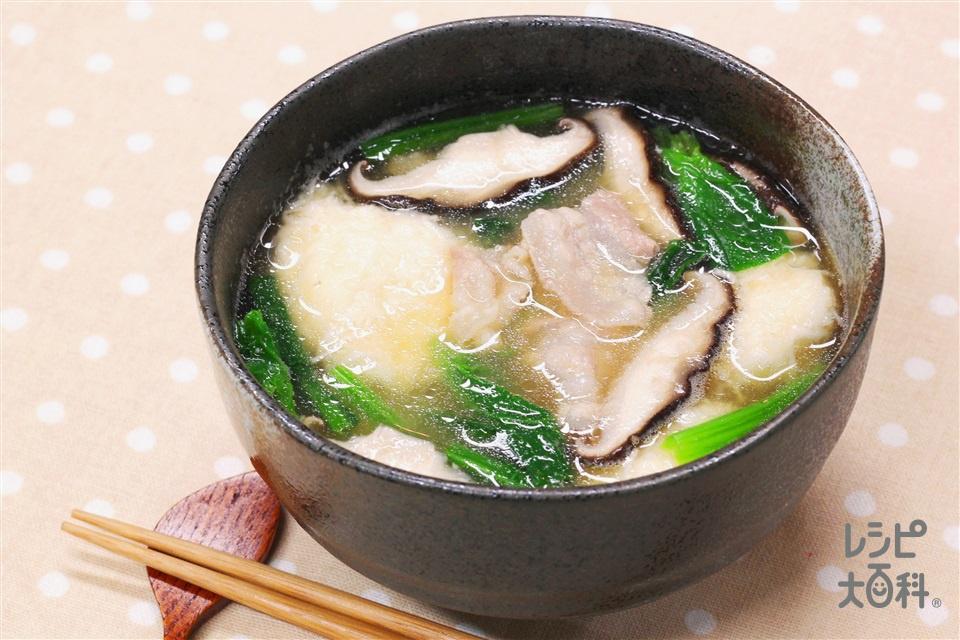 とろろだんごの味噌汁(豚バラ薄切り肉+大和いもを使ったレシピ)