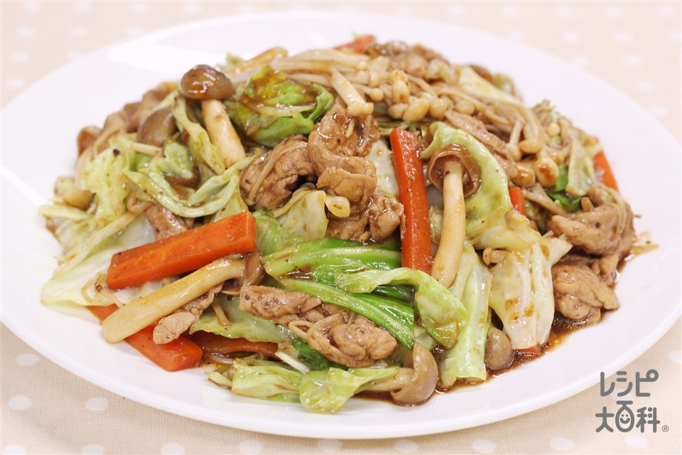 えのきとたっぷり野菜のみそ炒め(豚もも薄切り肉+えのきだけを使ったレシピ)