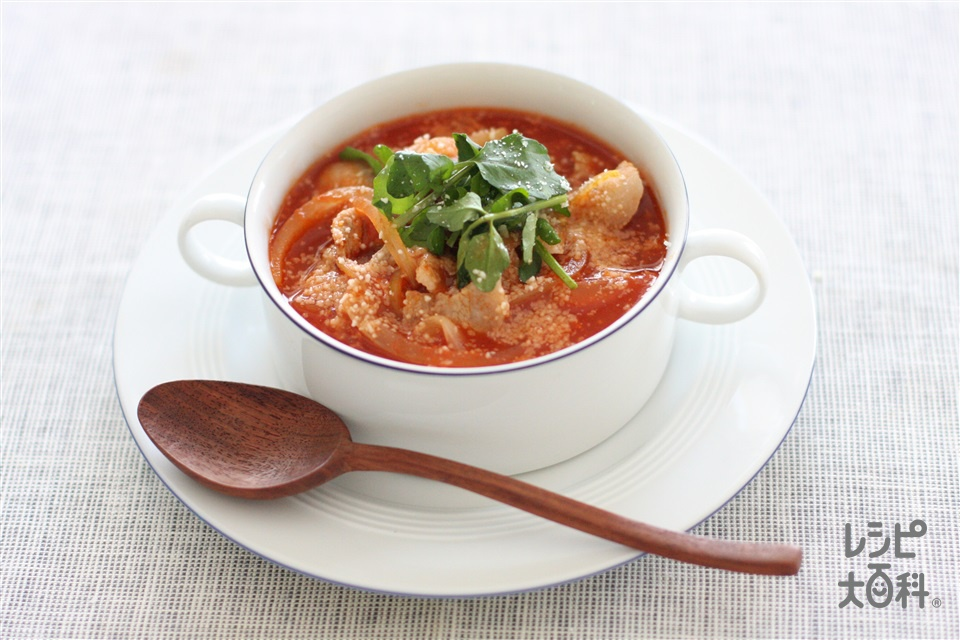 豚とコンソメトマトのスープかけごはん(ご飯+トマトジュース(無塩)を使ったレシピ)