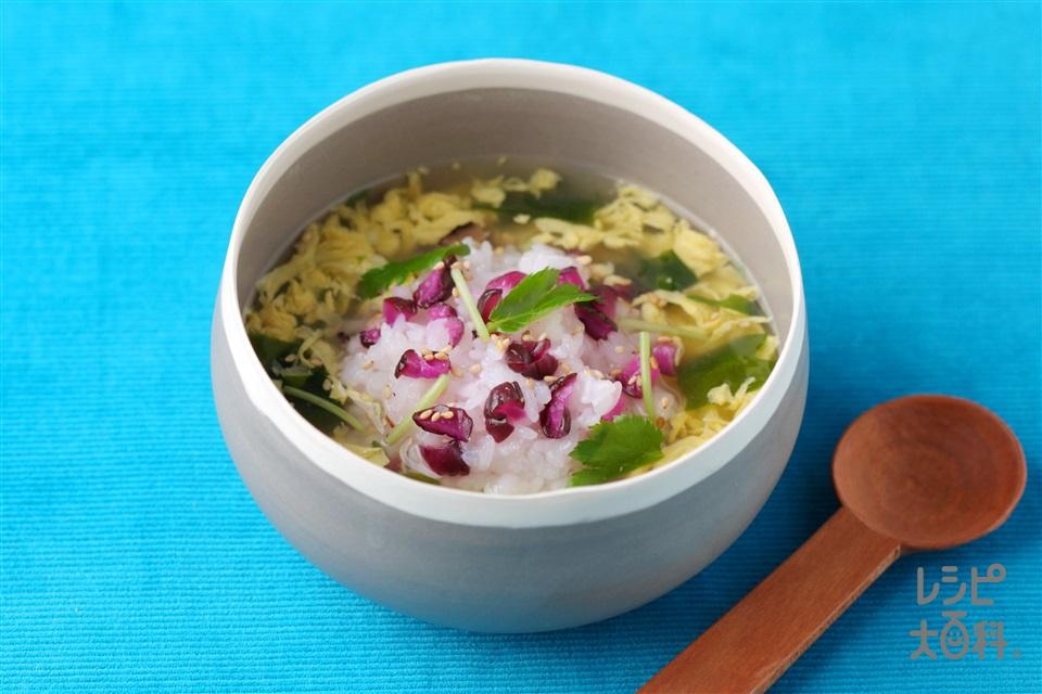 こだわりたまごスープかけごはん(温かいご飯+しば漬けを使ったレシピ)