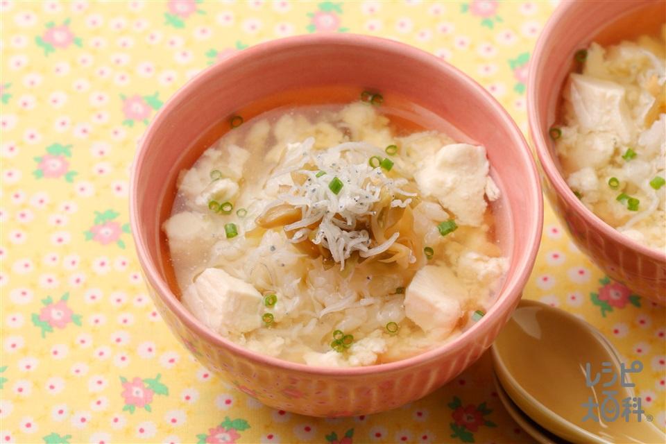 おじゃこ豆腐のスープかけごはん(温かいご飯+絹ごし豆腐を使ったレシピ)