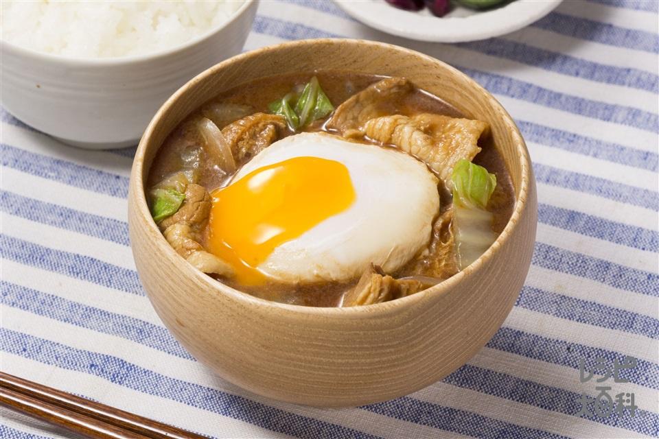 赤みそで絶品豚汁(白菜+卵を使ったレシピ)