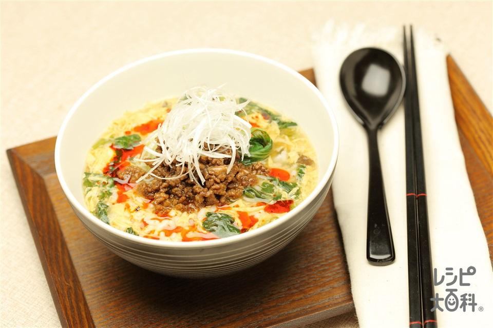 担々スープかけごはん(ご飯+豚ひき肉を使ったレシピ)