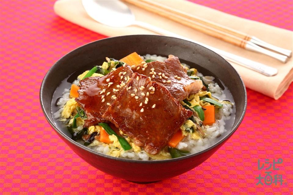 カルビクッパ風スープかけごはん(ご飯+牛カルビ肉を使ったレシピ)