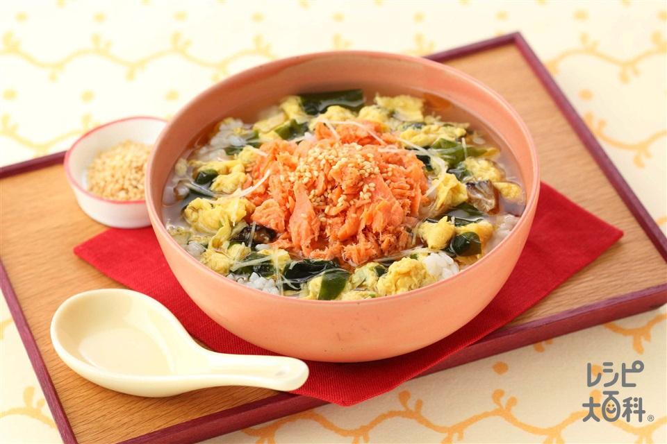 鮭としょうがのスープかけごはん(ご飯+さけフレークを使ったレシピ)