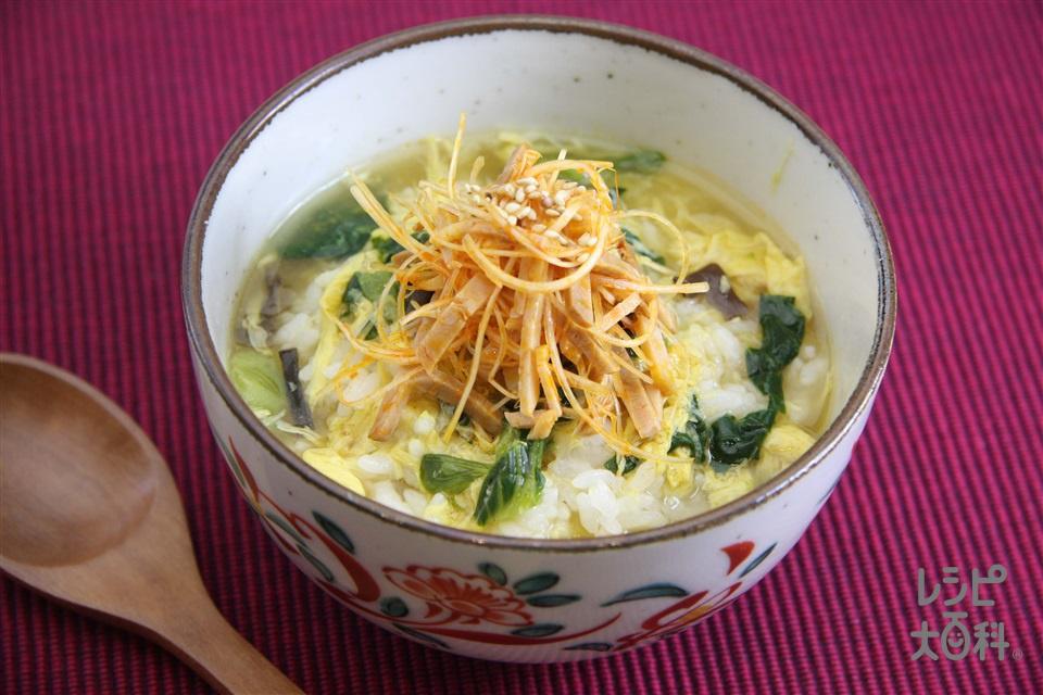 ピリ辛焼き豚スープかけごはん(ご飯+焼き豚を使ったレシピ)
