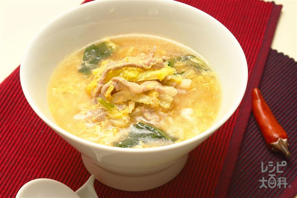 豚肉のさっぱりスープかけごはん(ご飯+豚もも薄切り肉を使ったレシピ)
