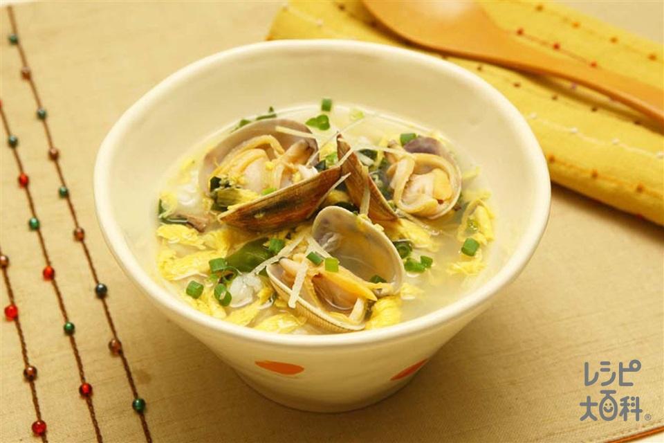 あさりと生姜のスープかけごはん(ご飯+あさり(殻つき)を使ったレシピ)