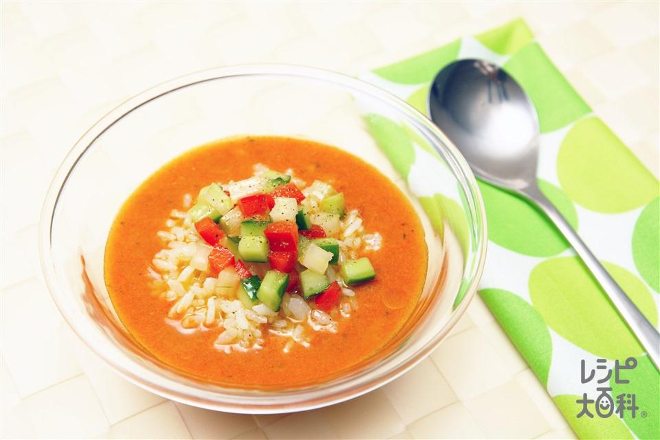 トマトの冷製スープかけごはん(ご飯+きゅうりを使ったレシピ)