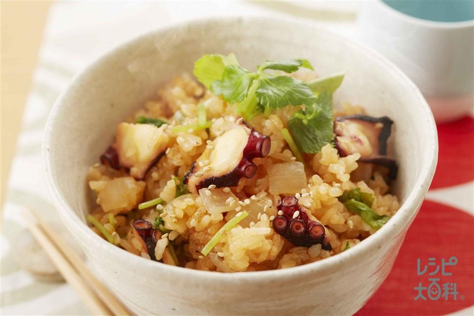 炊き込みたこキムチご飯(米+ゆでだこを使ったレシピ)