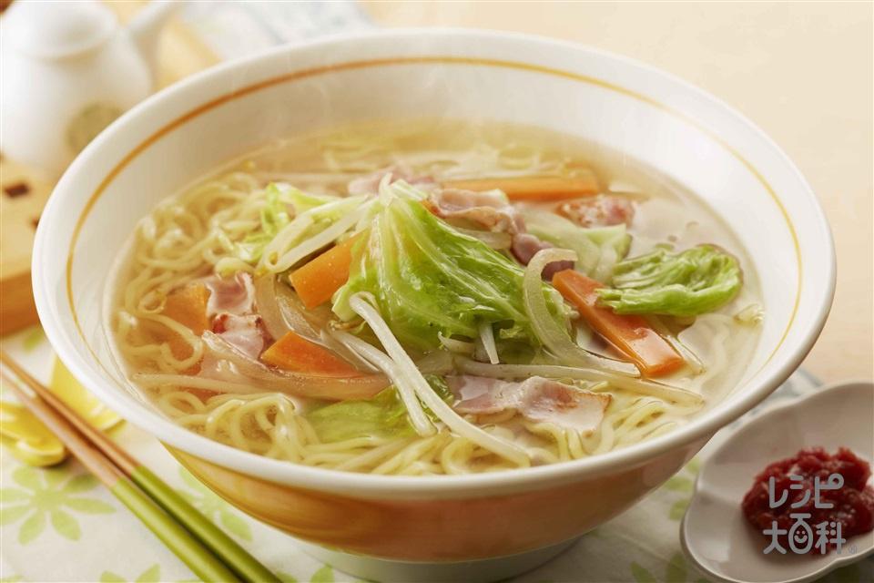 野菜たっぷりタンメン(中華生めん+ベーコンを使ったレシピ)