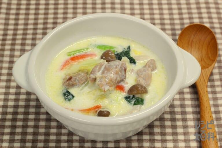 たっぷり野菜と鶏もも肉のミルクスープ