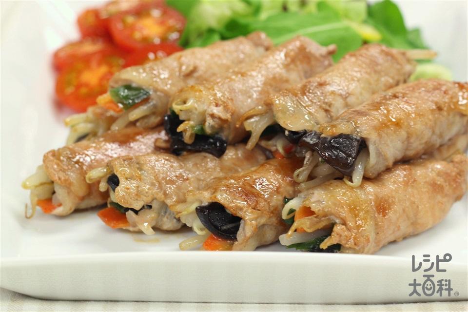 たっぷり野菜の肉巻き(豚ロース薄切り肉+袋入りカット野菜(にらもやしミックス)を使ったレシピ)